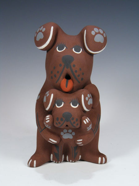 Jemez Pueblo Pottery Storyteller Floppy Ear Dog Family