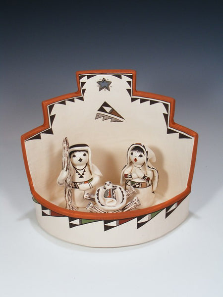 Acoma Pueblo Hand Made Pottery Storyteller Nativity Set