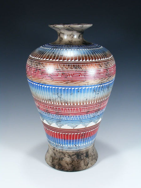 Large Painted Etched Navajo Horsehair Pottery Vase
