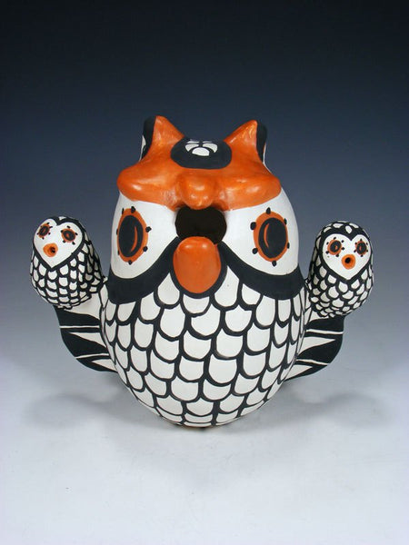 Acoma Pueblo Hand Coiled Pottery Owl Family