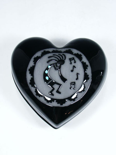 San Juan Pueblo Black Flute Player Heart-Shaped Jewelry Box
