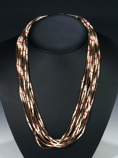 Native American Santo Domingo Coral and Heishi Necklace