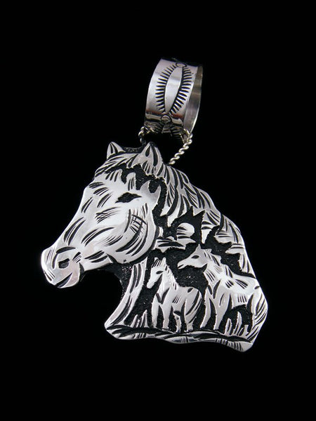 Native American Sterling Silver Overlay Horse Pendant