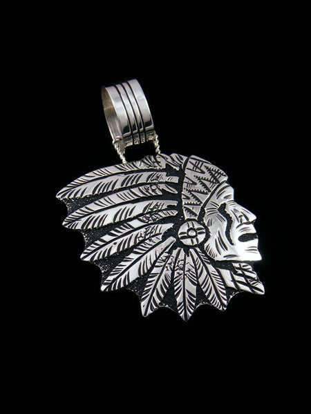 Native American Sterling Silver Overlay Chief Pendant