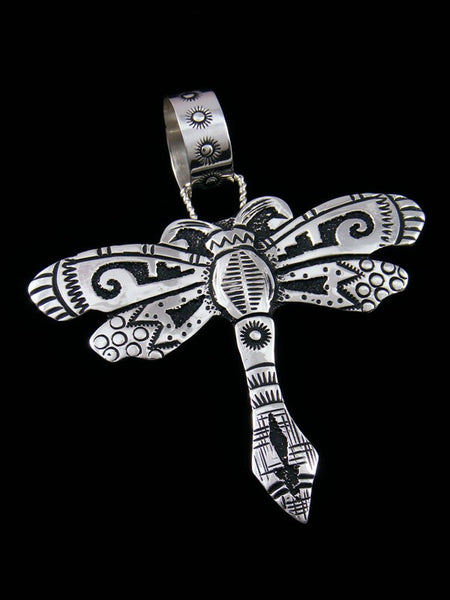 Native American Sterling Silver Overlay Dragonfly Pendant