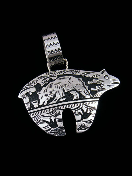 Native American Sterling Silver Overlay Bear Pendant