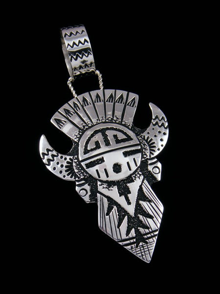 Native American Sterling Silver Overlay Kachina Pendant