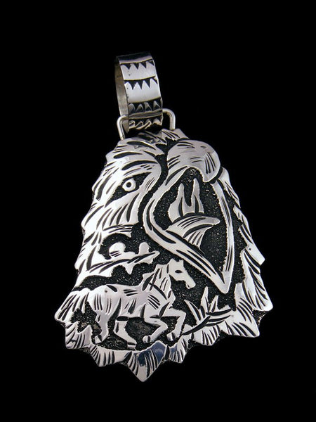 Native American Sterling Silver Overlay Eagle Pendant
