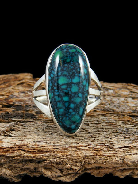 Hubei Spiderweb Turquoise Ring, Size 7.5