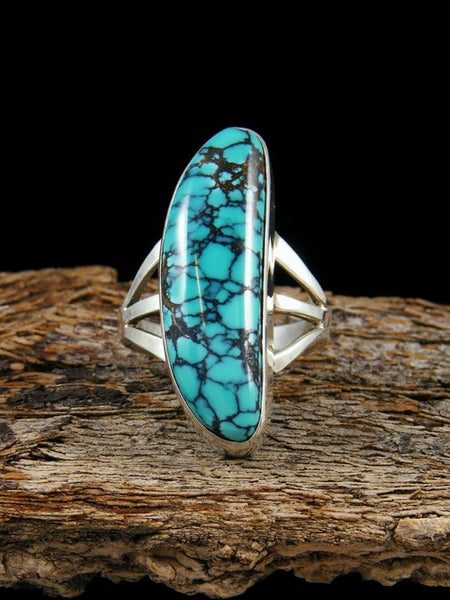 Hubei Spiderweb Turquoise Ring, Size 6