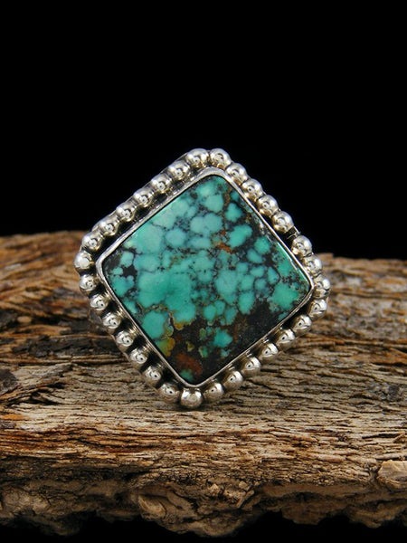 Cloud Mountain Turquoise Sterling Silver Ring, Size 7.5 Adjustable