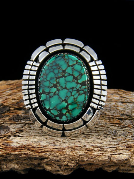Large Turquoise Sterling Silver Ring, Size 8