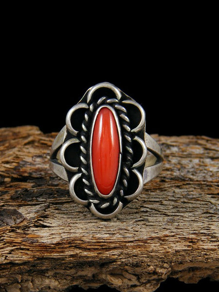 Vintage Coral Stering Silver Ring, Size 7