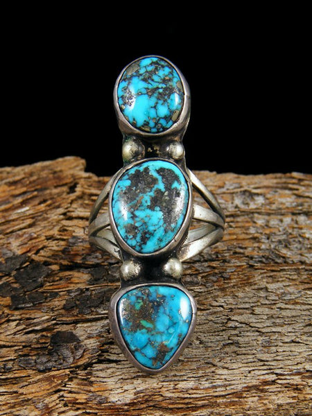Old Pawn Native American Sterling Silver Turquoise Ring, Size 6