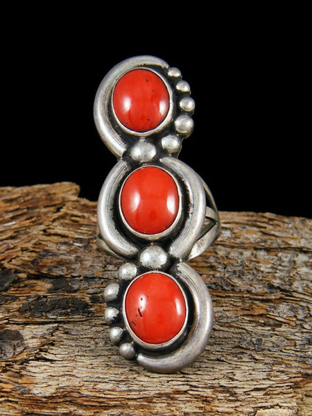 Vintage Native American Sterling Silver Coral Ring, Size 7