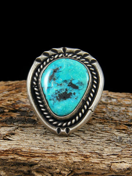 Vintage Native American Sterling Silver Morenci Turquoise Ring, Size 5.5