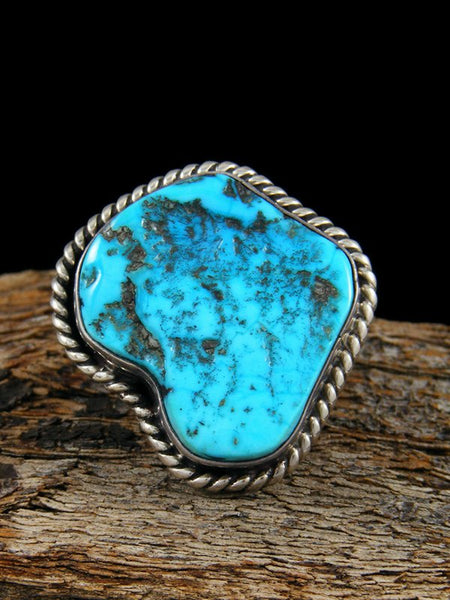 Estate Native American Sterling Silver Turquoise Ring, Size 6