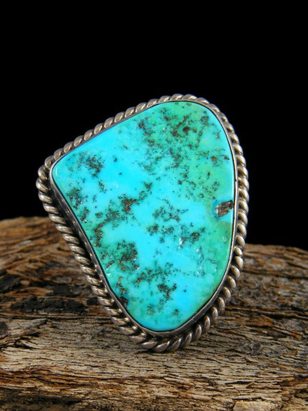 Estate Native American Sterling Silver Turquoise Ring, Size 10