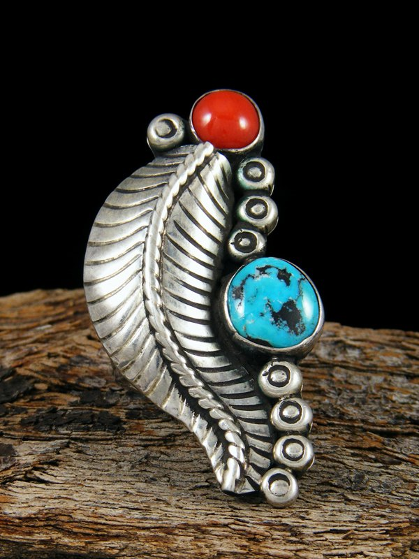 Old Pawn Native Sterling Silver Turquoise & Coral Ring, Size 6