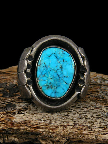 Old Pawn Native American Sterling Silver Turquoise Ring, Size 11 1/4