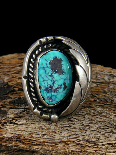 Old Pawn Native American Sterling Silver Turquoise Ring, Size 6.25