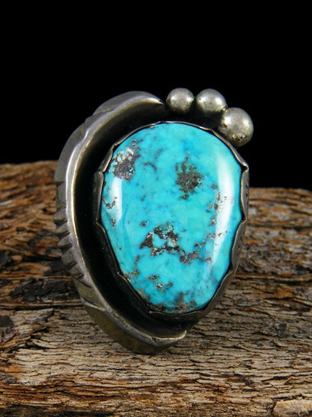 Old Pawn Native American Sterling Silver Turquoise Ring, Size 8