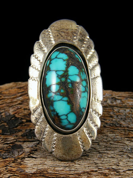 Old Pawn Native Sterling Silver Turquoise Ring, Size 10