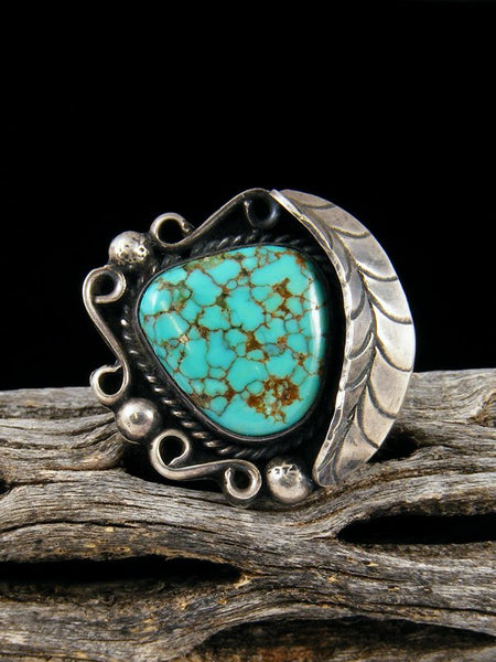 Old Pawn Native American Sterling Silver Turquoise Ring, Size 4