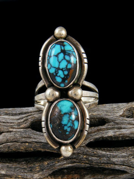 Old Pawn Native American Sterling Silver Turquoise Ring, Size 7 1/2