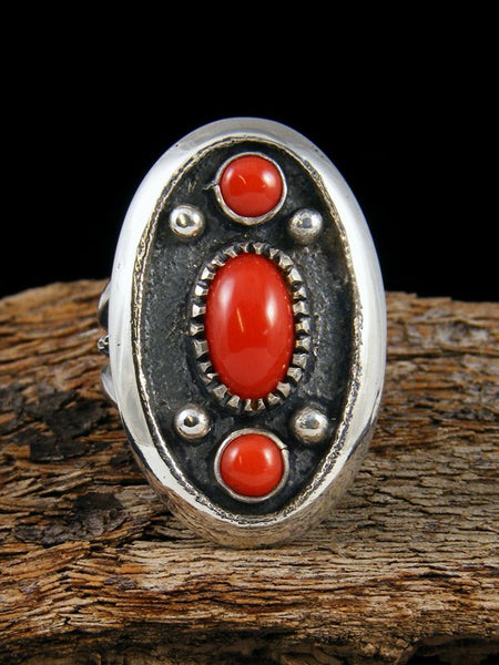 Native American Jewelry Coral Ring, Size 9 1/2