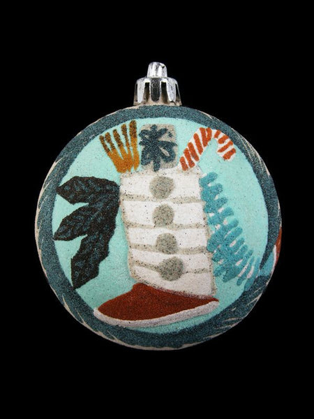 Navajo Sand Painted Ornament, Moccasin Design