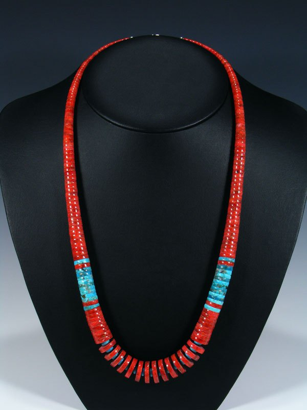 Native American Santo Domingo Turquoise and Coral Necklace