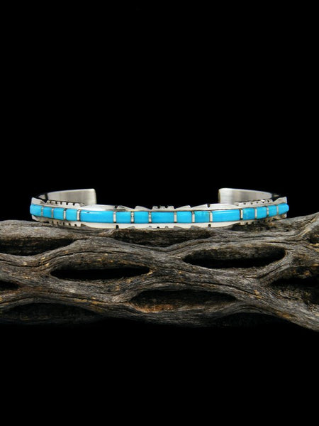 Single Row Sterling Silver Zuni Turquoise Inlay Bracelet