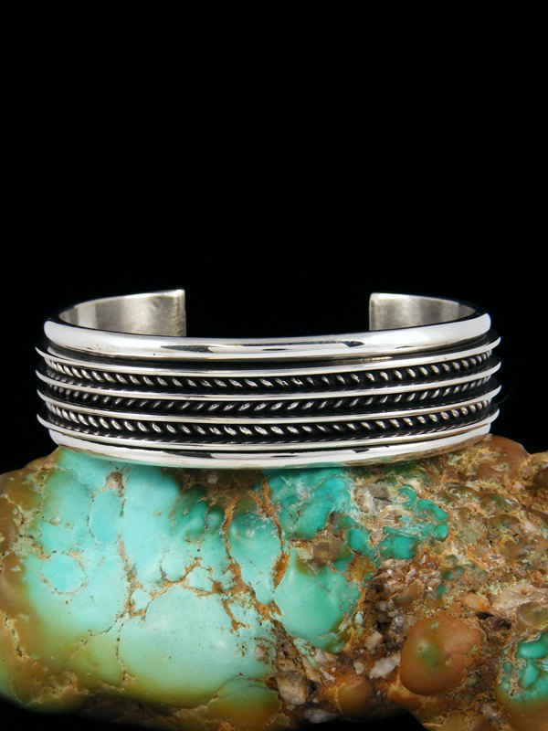Heavy Native American Sterling Silver Twisted Rope Cuff Bracelet