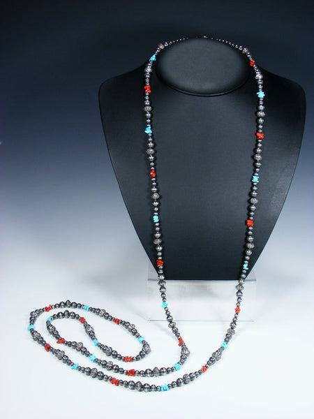 Extra Long Native American Sterling Silver Bead Turquoise and Coral Necklace