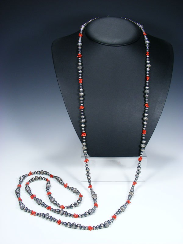 Extra Long Native American Sterling Silver Bead and Coral Necklace