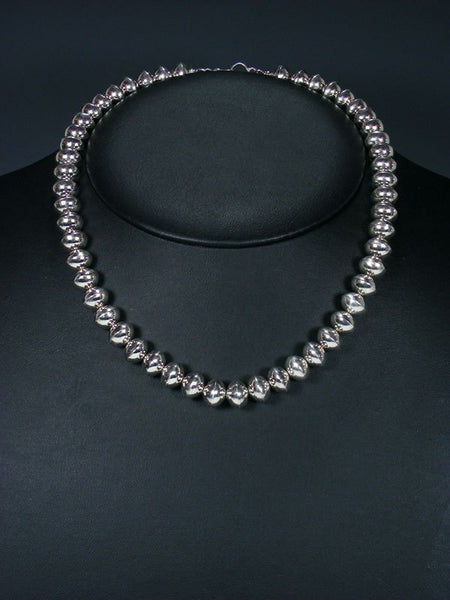 "Native American Sterling Silver Navajo Pearl 18"" Bead Necklace"