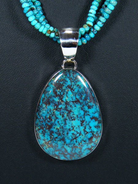 Native American Turquoise Pendant With Matching Beads