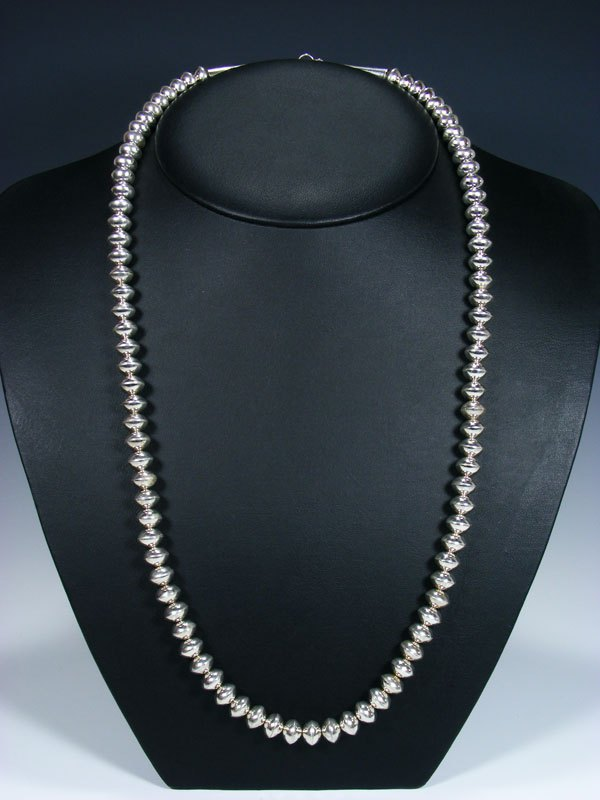 "Native American Sterling Silver 28"" Navajo Pearl Bead Necklace"
