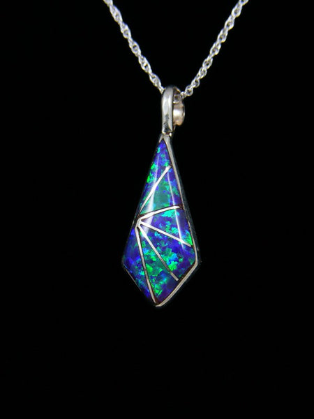 Zuni Blue Fiery Opal Inlay Pendant