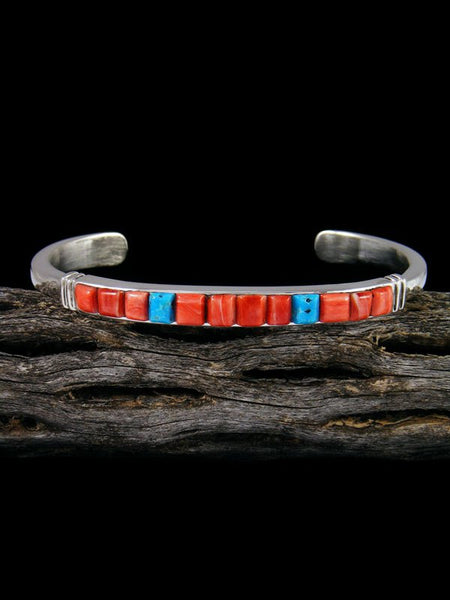 Native American Spiny Oyster and Turquoise Cobblestone Inlay Bracelet