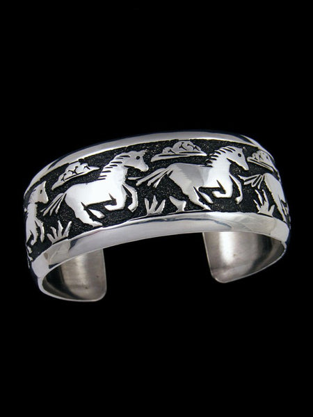 Native American Indian Jewelry Hand Crafted Silver Overlay Horse Bracelet