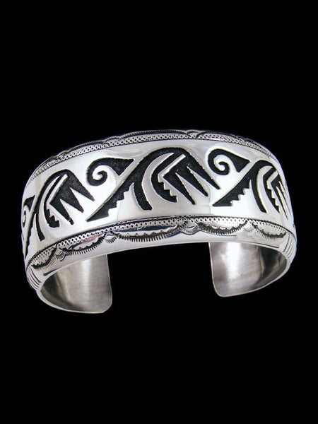 Native American Indian Jewelry Hand Crafted Silver Overlay Bracelet