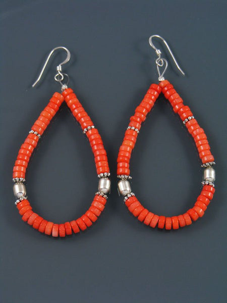 Navajo Bamboo Coral Beaded Dangle Earrings