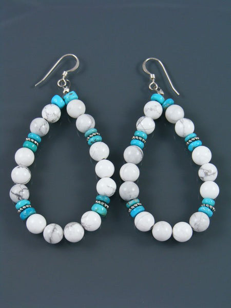 Navajo White Marble Beaded Dangle Earrings