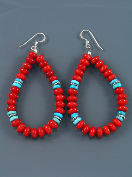 Navajo Coral Beaded Dangle Earrings