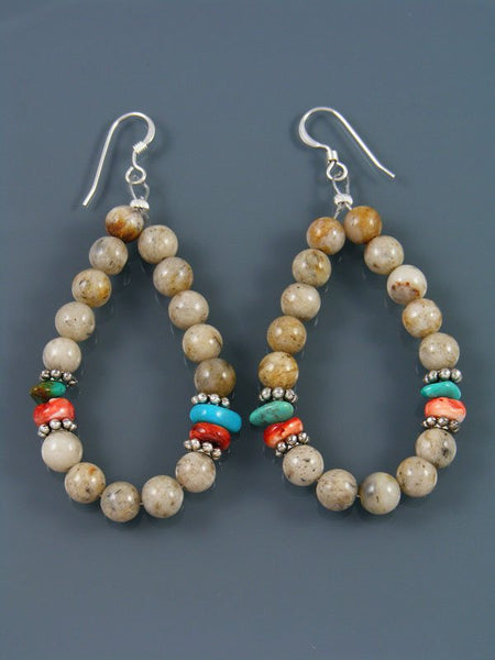 Navajo Marble Beaded Dangle Earrings