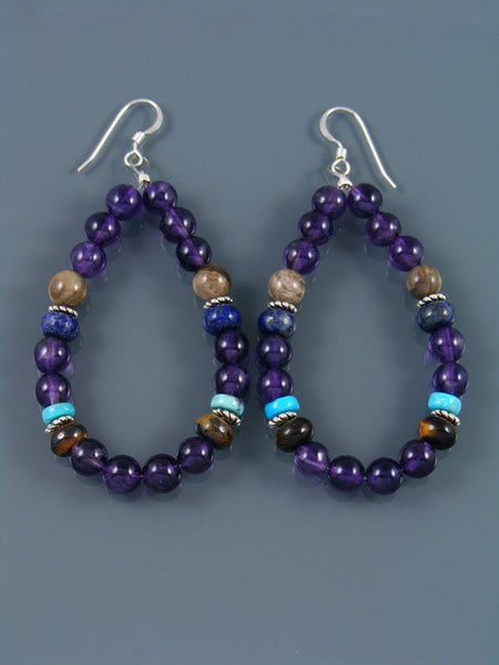 Navajo Amethyst Beaded Dangle Earrings