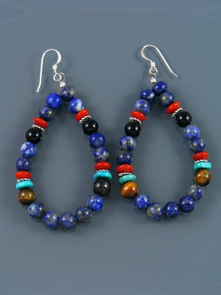 Navajo Lapis Beaded Dangle Earrings