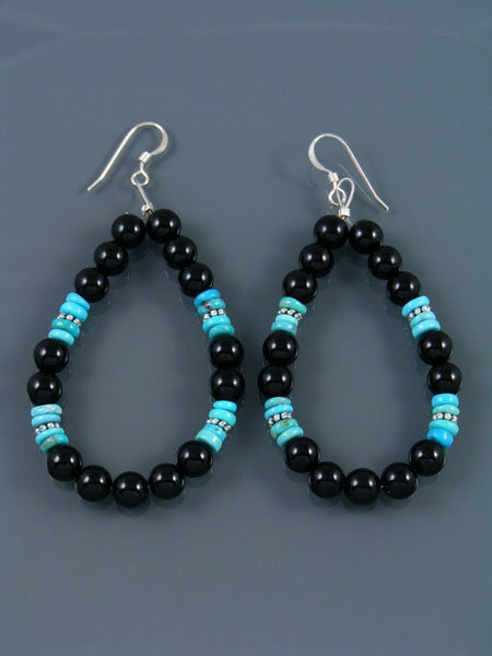 Navajo Onyx Beaded Dangle Earrings